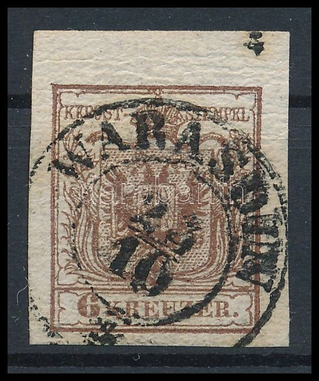 6kr chocolate brown, with 5 mm margin