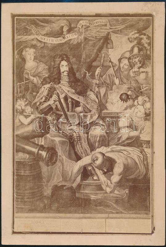cca 1855 I. Lipót (1640-1705) német-római császár és magyar király (1657-től 1705-ig) ábrázolása egy metszetről készült fényképen, 26x17 cm, karton 29x19,5 cm