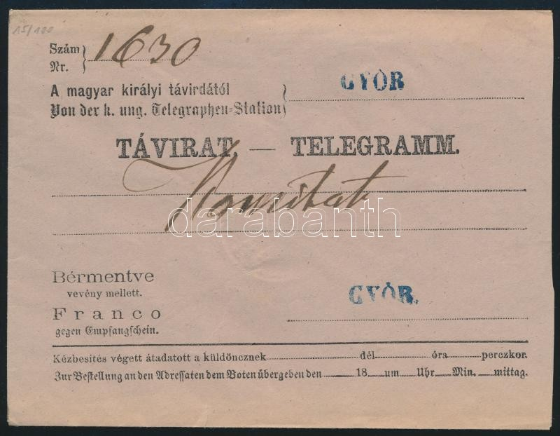 ~1865 Telegram cover, blue