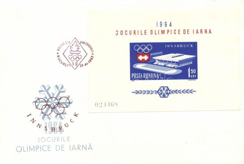 winter Olympics perforated + impwerforated set on 7 FDCs Téli olimpia fogazott + vágott sor 7 db FDC