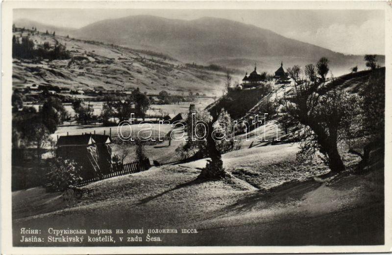 Jasina, Yasinia; Strukivsky kostelik, v zadu Sesa / church, mountain, Körösmező, Strukivsky templom, Sesa hegy