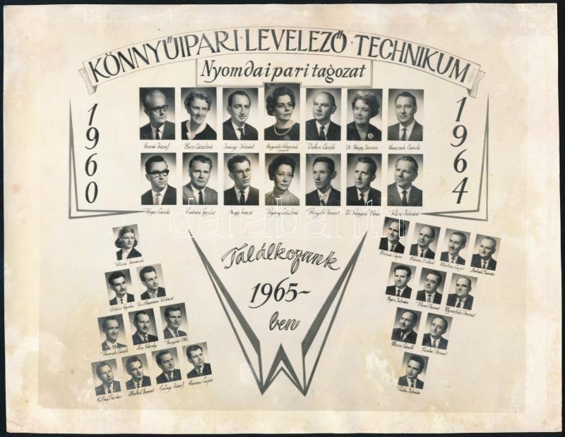 1964 Budapest, Könnyűipari Levelező Technikum Nyomdaipari Ágazat tanárai és végzős tanulói, kistabló nevesített portrékkal, foltos, 18x23,3 cm
