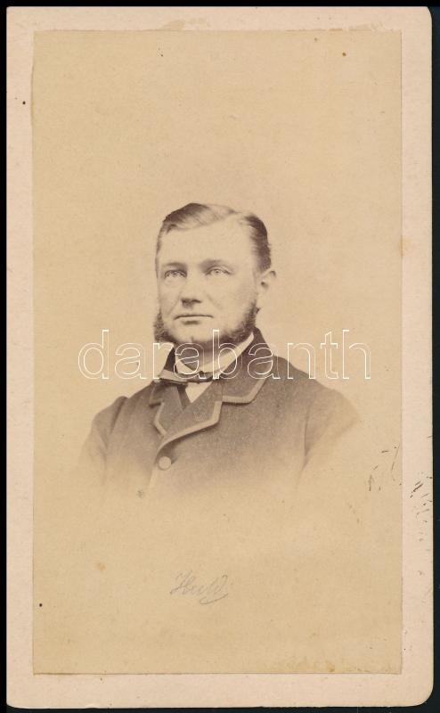 cca 1867 Otto Linckelmann grünbergi műtermében készült, vizitkártya méretű fénykép,10x6,1 cm