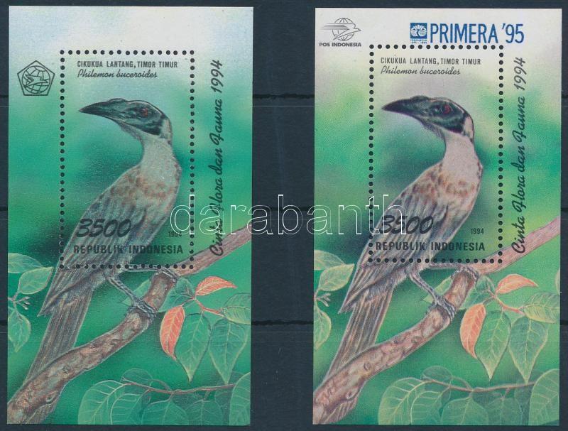 1994+1995 Birds block + block with overprint, 1994+1995 Madarak blokk + blokk felülnyomással