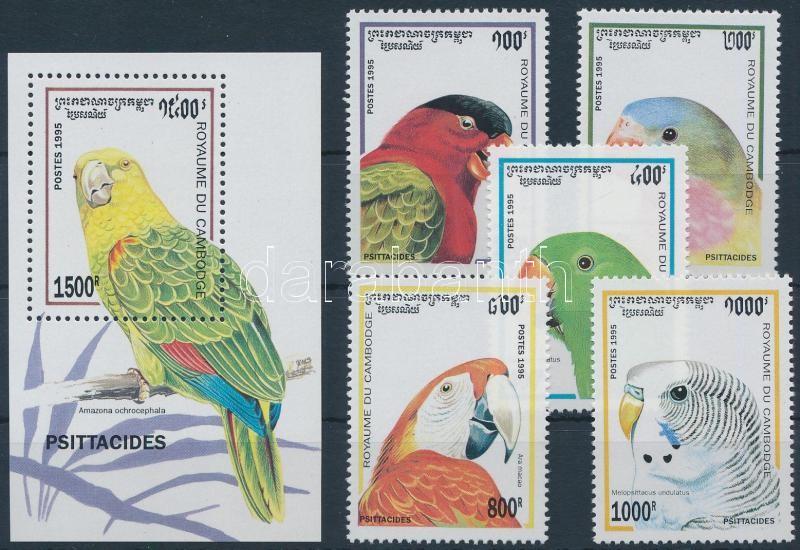 Parrots set + block, Papagájok sor + blokk