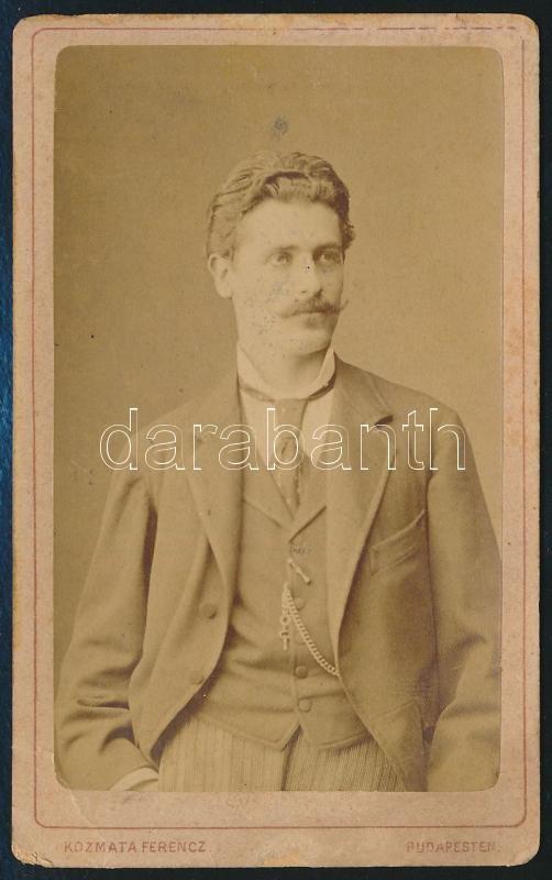cca 1874 Kozmata Ferencz budapesti műtermében készült, vizitkártya méretű fénykép, 10,5x6,5 cm