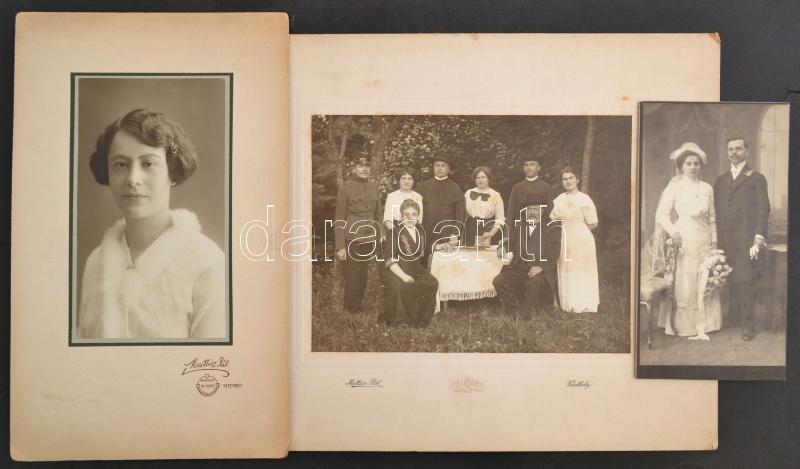 cca 1910 Keszthely, Mattisz Pál keszthelyi fényképésztől 3 db vintage fotó, 20x10,7 cm és 17x23 cm között