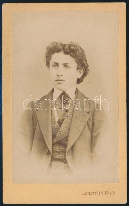 1869 Langsfeld Mór kaposvári fényképész műtermében készült, vizitkártya méretű, vintage fotó, 10,5x6,5 cm