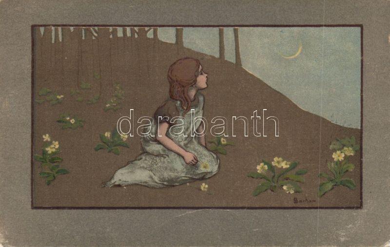 Little girl at night, M. Munk Nr. 313. litho s: Barham, Kislány, este, M. Munk Nr. 313. litho s: Barham