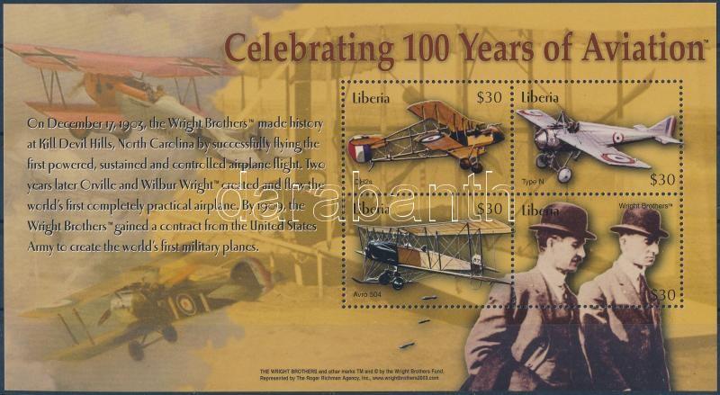 Celebrating 100 years of aviating minisheet, 100 éves a repülés kisív
