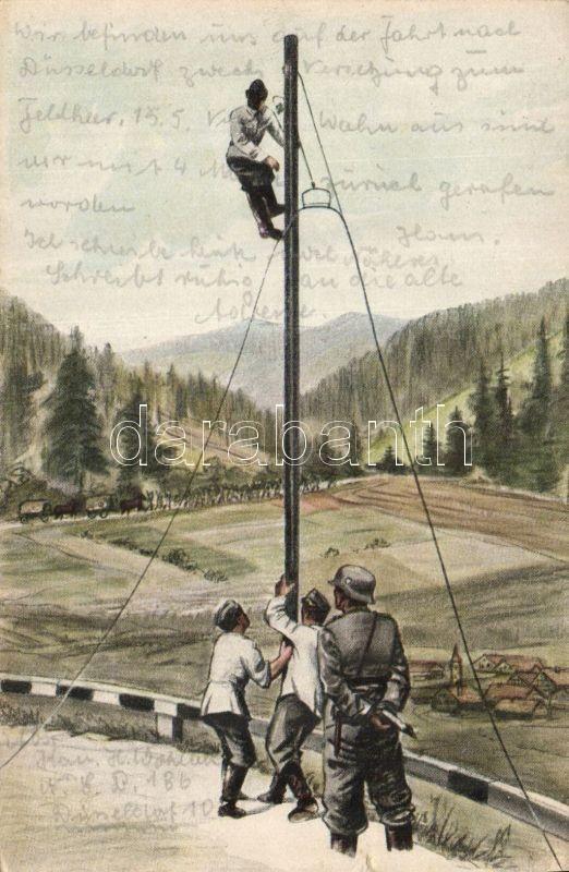 Nachrichtentruppen, Schweres Kabel wird aufgehängt / Intelligence force, suspending a heavy cable, Hírszerző csapatok, Nehéz kábel felfüggesztése