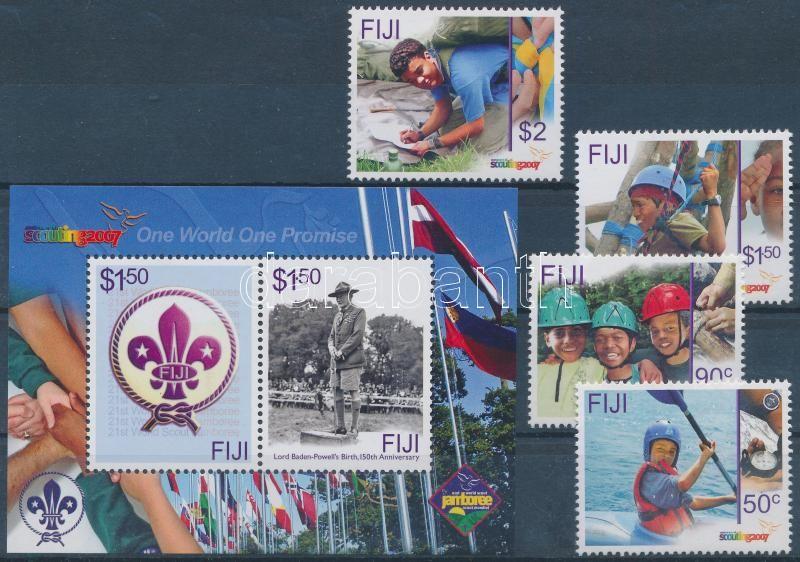 100th anniversary of the scout movement set + block, 100 éves a cserkészmozgalom sor + blokk, 100 Jahre Pfadfinderbewegung Satz + Block