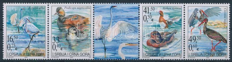 Protected animals: waterfowl stripe of 5 with coupon, Védett állatok: vízimadarak szelvényes ötöscsík