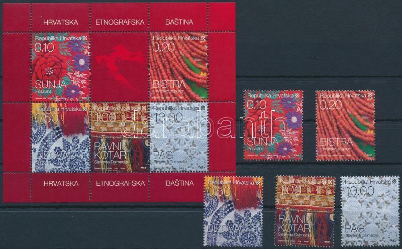 Traditional crafts set + block, Hagyományos kézművesség sor + block