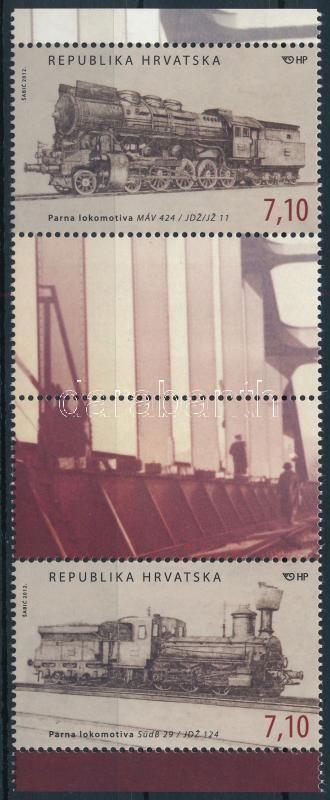 Steam locomotives margin stripe of 4 with tab, Gőzmozdonyok ívszéli szelvényes négyescsík