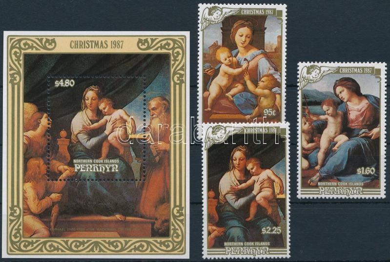 Christmas, paintings set + block, Karácsony, festmények sor + blokk