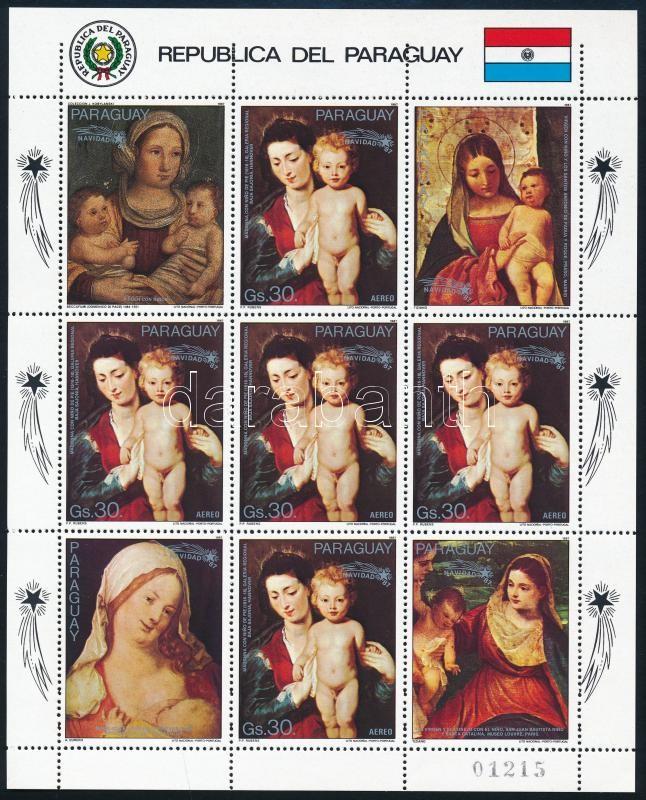 Christmas, paintings mini sheet, Karácsony, festmények kisív