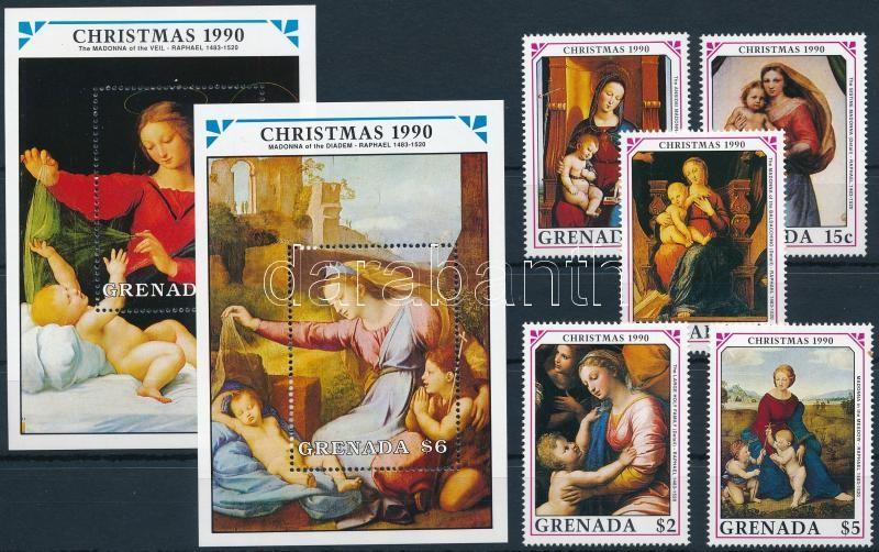 Christmas, paintings set + blockset, Karácsony, festmények sor + blokksor