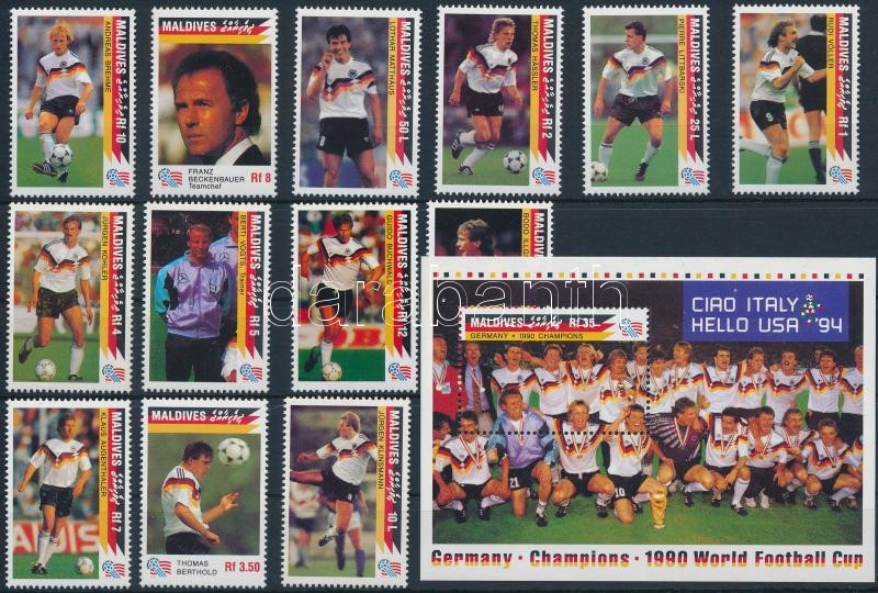 Football World Cup 1994, USA set + block, Labdarúgó-világkupa 1994, USA sor + blokk