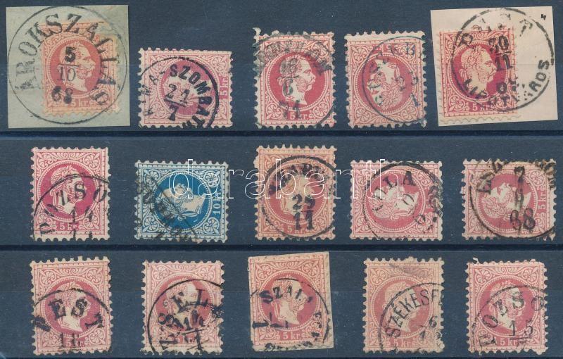 15 stamps with nice cancellations, 15 db bélyeg szép / olvasható bélyegzésekkel
