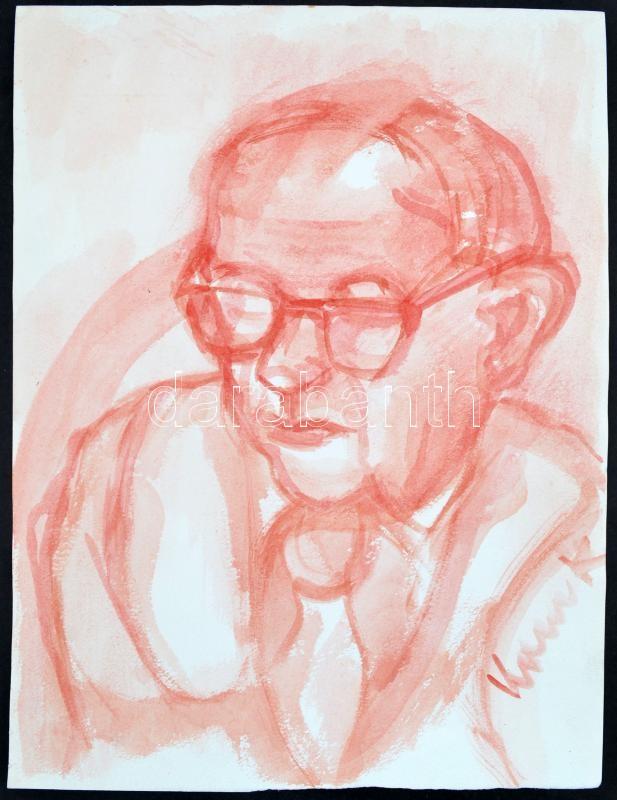 Kalocsai Rudolf (?-?): Portré, akvarell, papír, jelzett, 40×30 cm
