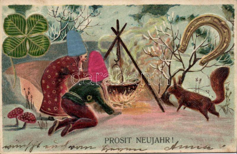 New Year, dwarves, horseshoe, clover, squirrel, mushroom liho, Újév, törpék, patkó, lóhere, mókus, gomba litho