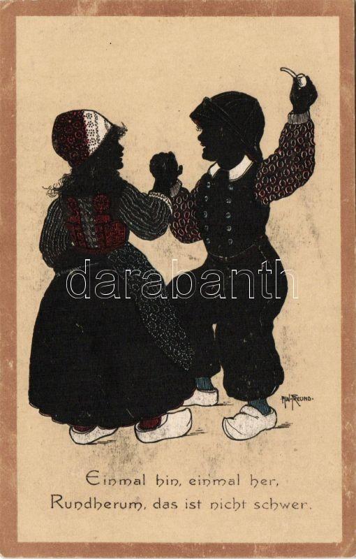 Dutch folklore, silhouette litho s: Freund, Holland folklór, sziluett litho s: Freund