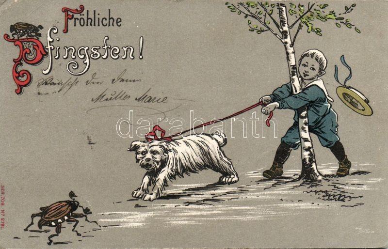 Pentacost, dog, boy, humour, Ser. 709. No. 2781.