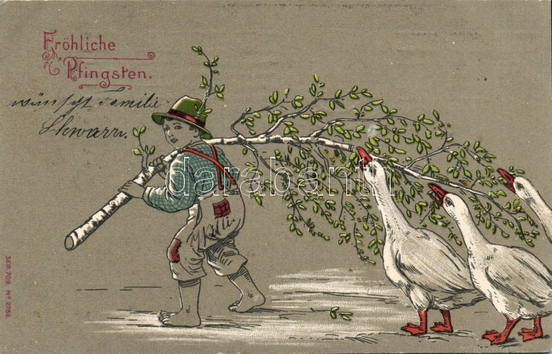 Pentacost, geese, litho