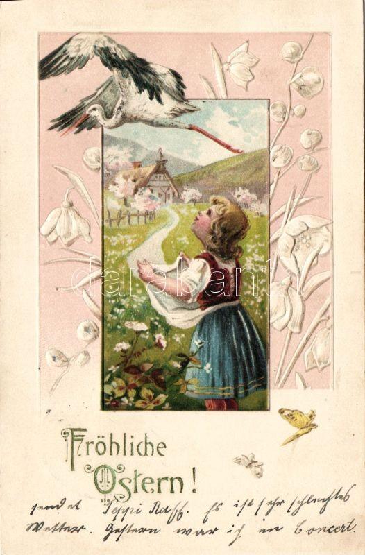 Easter, stork, Emb. litho