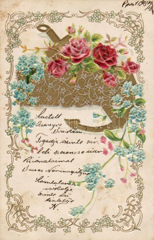 Flower, Emb. litho, Virágok, aranyozott dombornyomott lap, litho