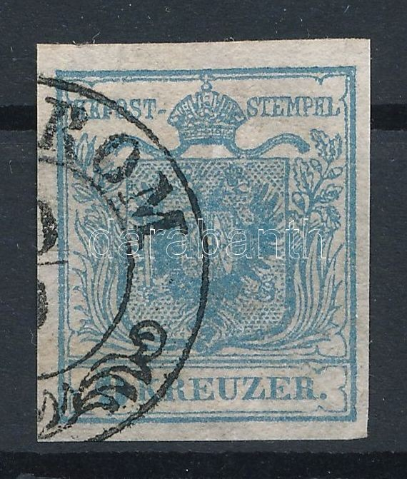 9kr HP I greyblue  stamp with plate flaws, silky paper Magistris 94.