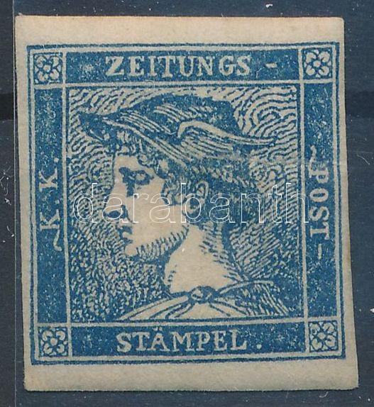 Newspaper stamp type IIIb, blue, with original gum, hinged.  Certificate: Ferchenbauer, Hírlapbélyeg 0,6kr IIIb tipus kék, eredeti gumival, falcos Certificate: Ferchenbauer