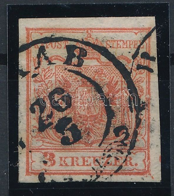 3kr MP I cinnabar, plate flaws, St. Andrews cross part on the right