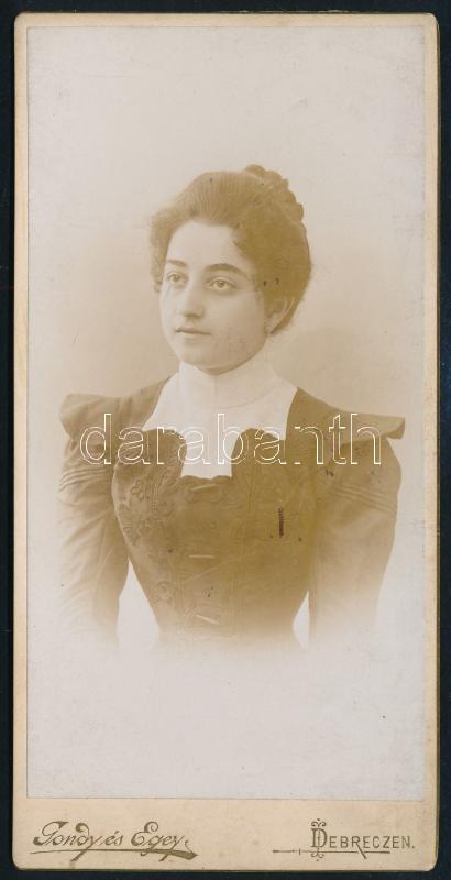 cca 1890 Debrecen, Gondy és Egey fényképészek műtermében készült, vintage fotó, 14,8x7,2 cm