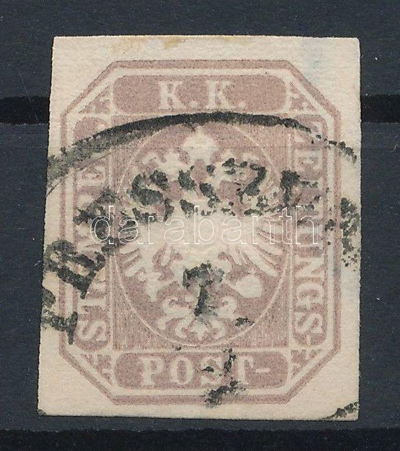 Newspaper stamp, greyviolet, deep colour, watermark part