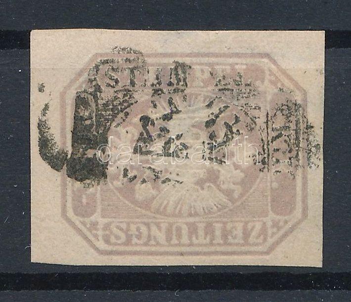 Newspaper stamp, greyviolet, large watermark part