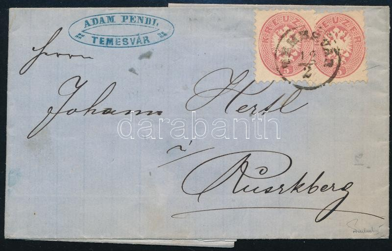 ~1864 2 x 5kr on domestic cover