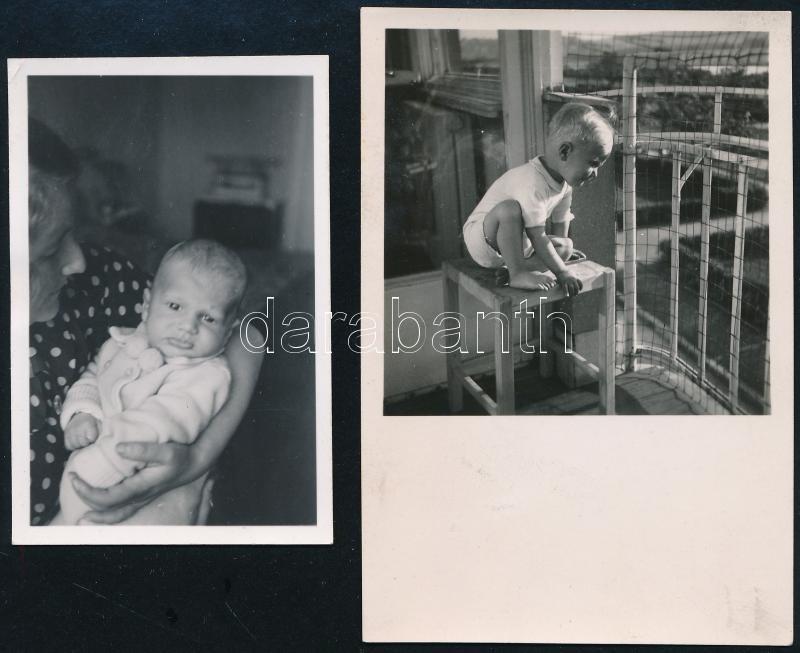1938 és 1940 Kinszki Imre (1901-1945) budapesti fotóművész hagyatékából, a szerző által feliratozott 2 db vintage fotó (Bíró György), 6,8x4,5 cm és 8,8x6 cm