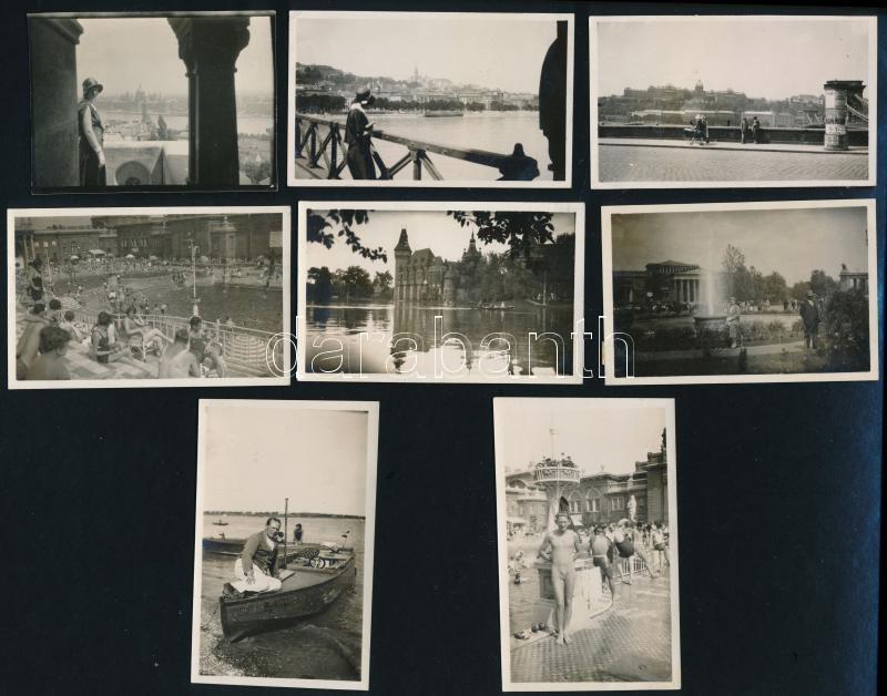 cca 1930 Budapesti városképek, életképek, 8 db vintage fotó, 5x7 cm és 8x5 cm között