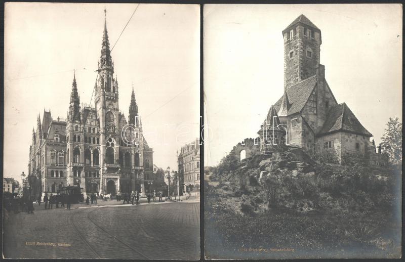 1906 Reichenberg, Würthle & Sohn hidegpecsétjével jelzett, 8 db feliratozott vintage fotó, 20x26 cm