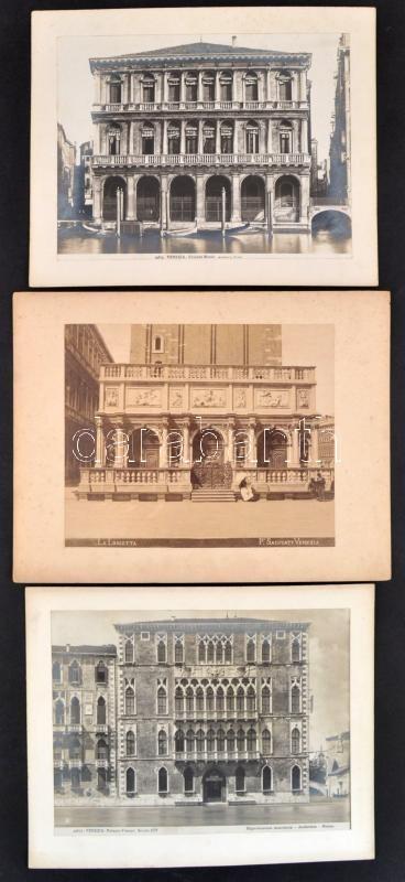 cca 1890 Velence (Olaszország), 3 db vintage fotó kasírozva, 19,5x23 cm, karton 25x30,5 cm (az egyik karton széle kissé sérült)