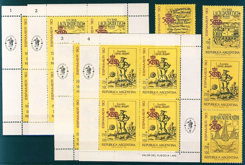 Stamp exhibition Espamer set + minisheet, Bélyegkiállítás Espamer sor + kisív, Spanisch-Amerikanische Briefmarkenausstellung ESPAMER '90, Buenos Aires Satz + Kleinbogensatz (4 Klb.)