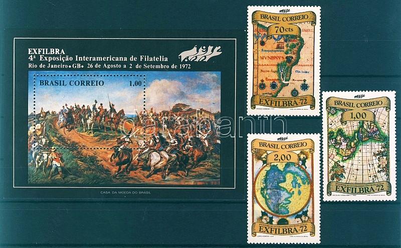 EXFILBRA stamp exhibition set + block, Bélyegkiállítás EXFILBRA sor + blokk, EXFILBRA Markenausstellung Satz + Block