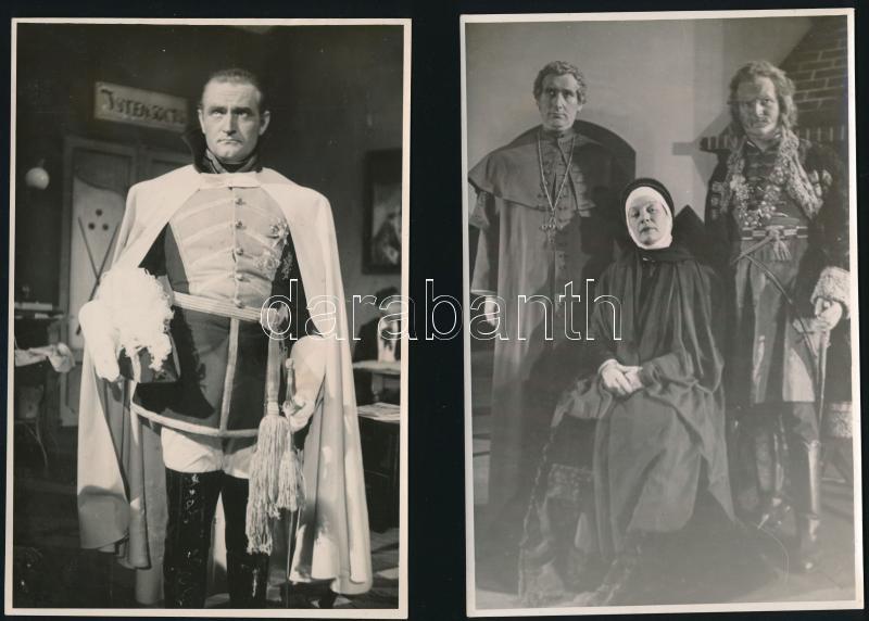 cca 1962 Wellesz Ella Mária (?-?) budapesti színházi fotós hagyatékából 3 db feliratozott vintage fotó, az egyik pecséttel jelzett, 16,2x11,8 cm és 17,8x11,5 cm között