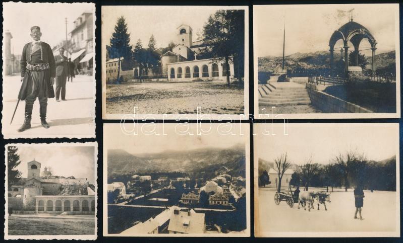 1933 Montenegro, 6 db feliratozott vintage fotó, 6x6 cm és7x9 cm között