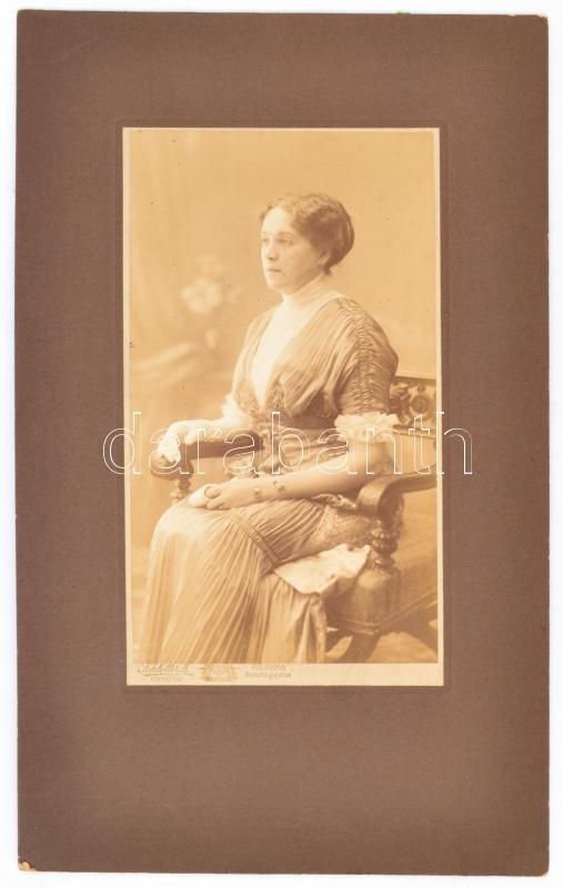 cca 1910 Palánka, Schlotter J. fényképész műtermében készült, feliratozott vintage fotó Marton Istvánnéról (született Illés Ilona), 20x11,5 cm, karton 32,5x20 cm