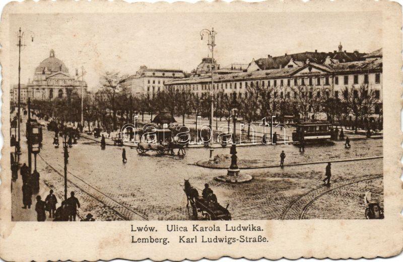 Lviv, Lwów, Lemberg; Ulica karola Ludwika / street, tram