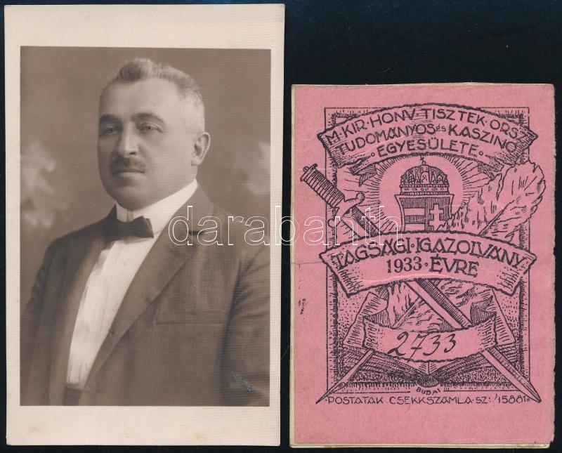 1933 M. kir. Honvéd Tisztek Tudományos Kaszinó Egyesülete tagsági igazolványa Bernolák Károly hagyatékából, a tulajdonost egy másik fényképen azonosítja Rákosszentmihály aljegyzője, 9x6 cm