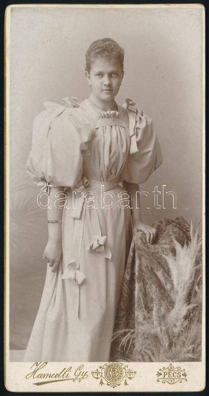 1895 Pécs, Hamedli Gyula fényképész műtermében készült, keményhátú vintage fotó, 14,9x7,5
